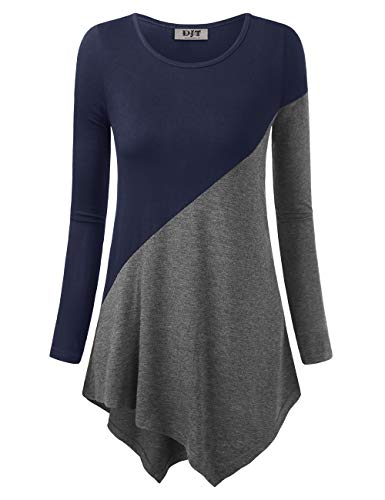 (DJT Women's Color Block Blouse Long Sleeve Casual Tee Shirts Tunic Tops Medium Blue Grey)