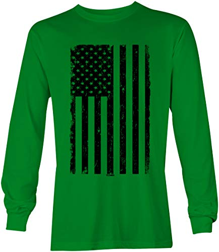 Distressed Black USA Flag - United States Unisex Long Sleeve Shirt (Kelly, Large)