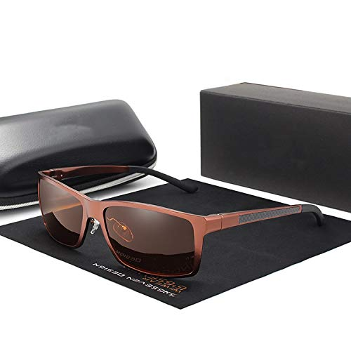 Aluminum Magnesium Sunglasses Men Polarized Square Driving Sun Glasses Male Eyewear Accessories For Men,Brown ()