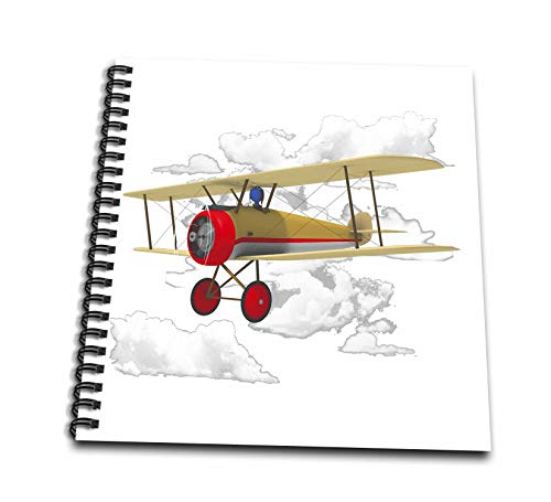 3dRose Macdonald Creative Studios – Scuba - A Cute Little Pilot Flying a Vintage Biplane Aircraft. - Drawing Book 8 x 8 inch (db_299298_1)