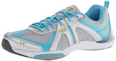 RYKA Women's Moxie Cross-Training Shoe,Chrome Silver/Detox Blue/Lime Blaze,5.5 M US
