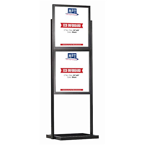 Eco Info Board Floor Standing Heavy Duty Poster Sign Poster Size, Black, 2 Tiers, Double Sided 22x28