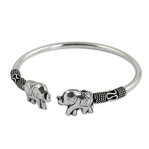 Silver Elephant Bracelet - NOVICA .925 Sterling Silver Animal Cuff Bracelet 'Proud Elephant'