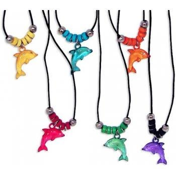 Fun Express Acrylic Dolphin Necklace with Jewel Eyes - Dolphin Necklaces