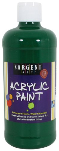 Acrylic Paint Green Dark - Sargent Art 24-2472 16-Ounce Acrylic Paint, Dark Green