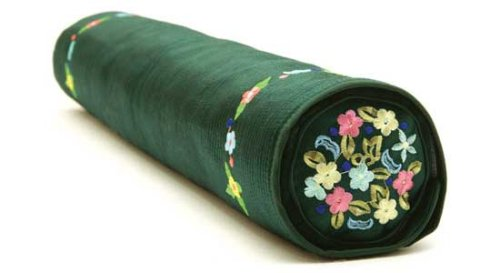 Decorative Pillow Features Activated Bamboo Carbon and Natural Color Dyes, Cylindrical, Green