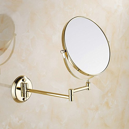 2 Polished Brass Vanities (Ohcde Dheark 8 Inch Golden Polished Brass Bathroom Cosmetic Mirror Makeup Mirror Double Slide Magnifying Bath Mirrors Wall Mounted)