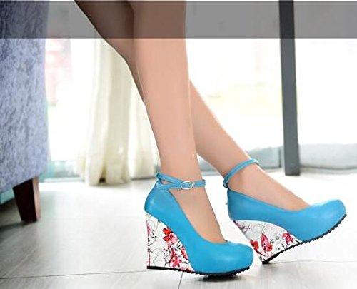 2016 Frühjahr neue nationale Winddruck Schuhe mit hohen Absätzen zwängt Schuhe Blau