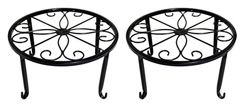 Minimalist Design 9'' Round Standing Plant Holders│Indoor Outdoor Flower Pot Stands│Planter Trivets - Set of 2, Black by JustNile