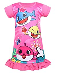 Coralup Toddler Girls Baby Shark Short Sleeve Nightgown Sleepwear Princess Casual Dress