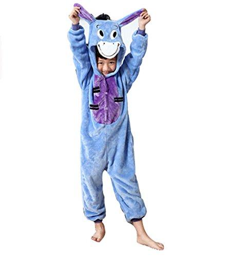 Kiddom Children's Kigurumi Pajamas Flannal Thick Warm Kids Costume Animal Pyjamas Donkey,L(Height