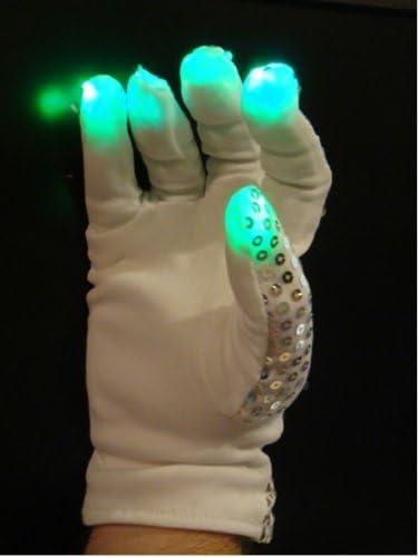 Michael Jackson-Style Multicolor RGB Lights Sequin Right Hand 6 Modes Flashing Panda LED Raver Gloves