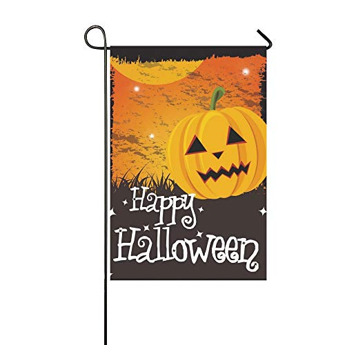 WBSNDB Home Decorative Outdoor Double Sided Happy Halloween Card Pumpkin Message Garden Flag,House Yard Flag,Garden Yard Decorations,Seasonal Welcome Outdoor Flag 12 X 18 Inch Spring Summer Gift -