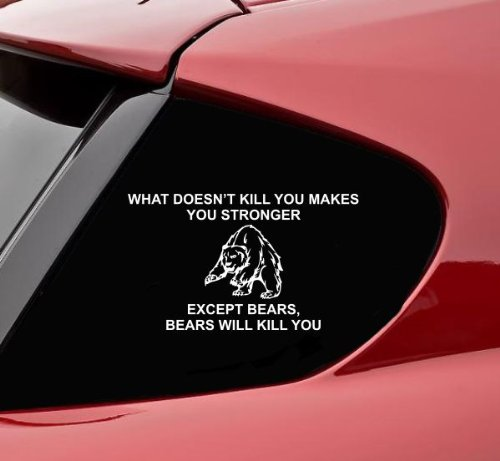 Slap-Art What Doesn't Kill You Makes You Stronger Except Bears, Bears Will Kill You Funny Vinyl Decal Sticker