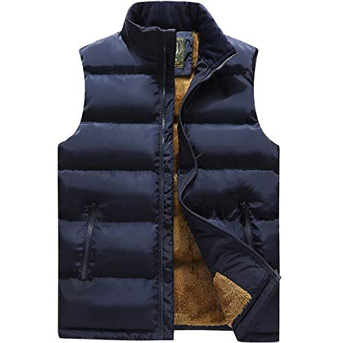 Flygo Men's Winter Warm Outdoor Padded Puffer Vest Thick Fleece Lined Sleeveless Jacket (Style 03 Blue, X-Large) (Quilted Diamond Vest)