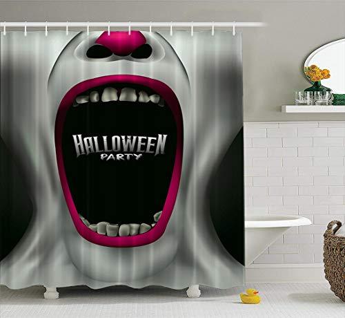 LILYMUA Scary Fabric Bathroom Shower Curtain, Scary Scream Halloween Party Flyer Creepy with Bath Curtain Hooks Polyester Shower Curtain Waterproof Bathroom Decor 72x78 Inch -