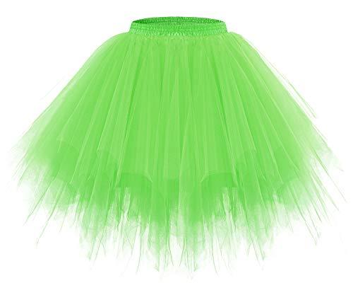Bridesmay Women's Tutus Tulle Skirt 50s Vintage Petticoat Ballet Bubble Skirts FluorescenceGreen L -