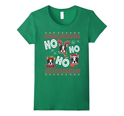 on Terrier T-Shirt Funny Dog Christmas Gift Medium Kelly Green (Boston Terrier Christmas)