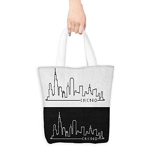 Chicago Bag Cart Bears Golf - Handbag or crossbody messenger bag,Chicago Skyline Minimalist Style Urban Plan View City Chart Sketch American Abstract,Organic Cotton Washable & Eco-friendly Bags,16.5