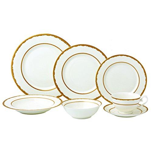 Lorren Home Trends Sonia-28 28 Piece Sonia Collection Dinnerware Set, Gold