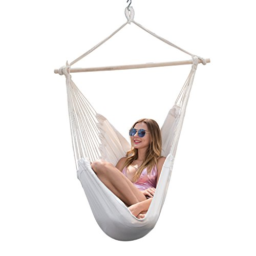 Y- stop Hanging Rope Hammock Chair Porch Swing Seat Quality Cotton Weave for Superior Comfort & Durability, Garden, Patio, Porch, Yard- Max 265 Lbs -2 Seat Cushions Included(Rice white) (Seat Hanging Hammock)