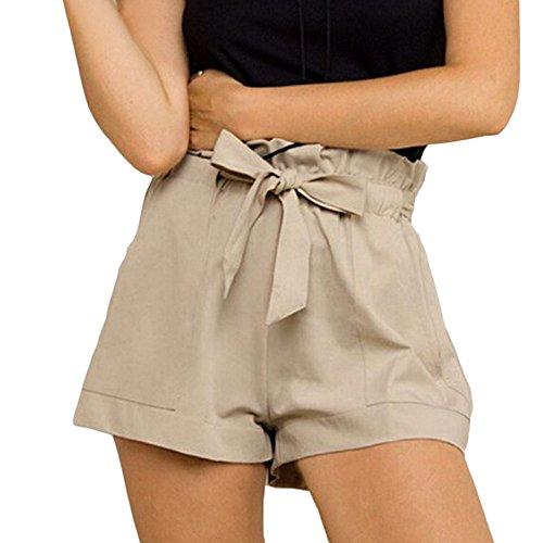 Web Wading Belt - ADREAML Women's Casual Elastic Waist Bowknot Summer Shorts Pockets Khaki