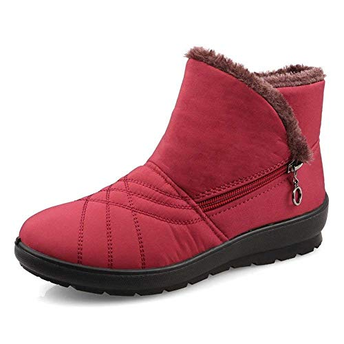 DADAZE Warm Snow Boots, Womens Fur Lined Winter Boots Zip Flat Ankle Boots Anti-Slip Warm Outdoor Shoes Red a