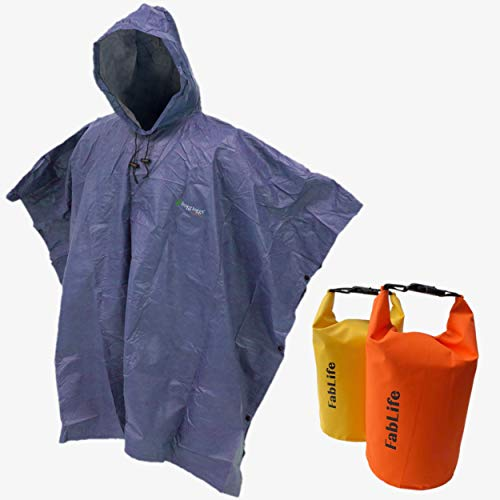 Frogg Toggs Ultra-Lite Packable Rain Poncho Foul Weather, Golf, Boating, Hiking Kayaking. Bundled 2 Floating Waterproof 5 Liter Roll Top Dry Bags