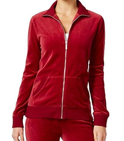 Michael Kors Cinnabar Womens Full Zip VelourSweater Red XL - Michael Kors Zip Cardigan