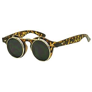 SunglassUP - Round 43mm Cyber Steampunk Flip Up Clear Lens Glasses / Sunglasses (Tortoise / Gold)