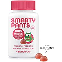 SmartyPants Kids Probiotic Complete Daily Gummy Vitamins; Probiotics & Prebiotics; Gluten Free, Digestive & Immune Support*; 4 billion CFU, Vegan, Non-GMO, Stawberry Crème, 60 Count (30 Day Supply)