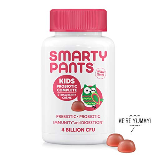 SmartyPants Kids Probiotic Complete Daily Gummy Vitamins; Probiotics & Prebiotics; Gluten Free, Digestive & Immune Support*; 4 billion CFU, Vegan, Non-GMO, Stawberry Crème, 60 Count (30 Day -