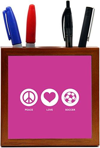 Rikki Knight Peace Love Soccer Rose Pink Color Design 5-Inch Tile Wooden Tile Pen Holder (RK-PH42771) by Rikki Knight