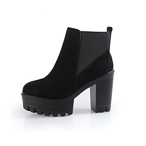 Women's Black AmoonyFashion Toe Heels High Round and Heels Rough Boots Slipping with Sole 6dCdq7wr