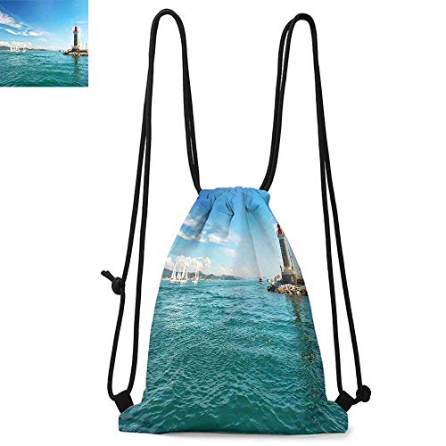 (Lighthouse Drawstring backpack series Day by the Seaside Sailboats Lighthouse Rocks Clear Sea Clouds Island Seascape Convenient choice for daily activities W13.4 x L8.3 Inch Multicolor)