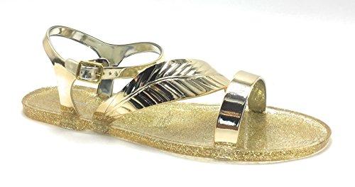 Color la Zapatos Open fashionjelly Mujer De Nueva Multi Leaf Toe Slingback Glitter Dorado Sandalias Y7qndw8