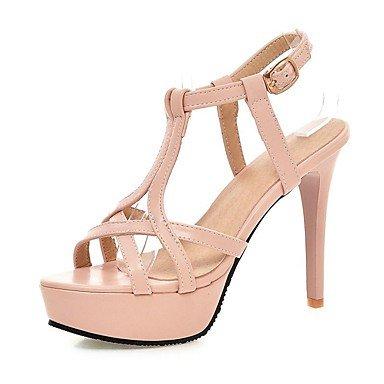 LvYuan Mujer Sandalias Zapatos formales Semicuero Primavera Verano Boda Casual Vestido Fiesta y Noche Zapatos formales Tacón StilettoBlanco Black