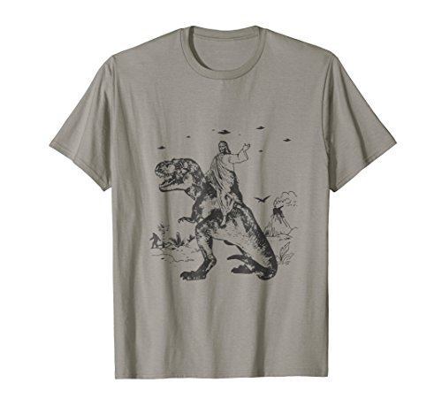 Jesus Riding On A Dinosaur T Shirt Darwin Evolution ()