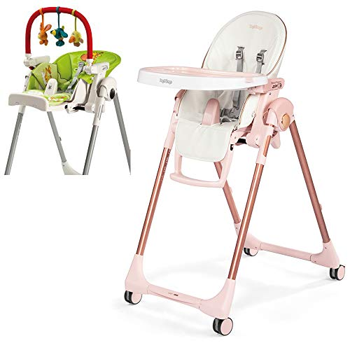 Peg Perego Prima Pappa Zero 3 High Chair, Mon Amour with Play Bar Bundle (Peg Perego Prima Pappa Best High Chair)