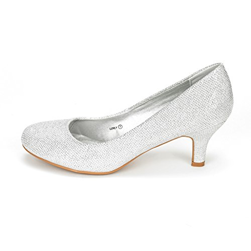 PAIRS Bridal Wedding Glitter 3 Low BERTHA Heel DREAM Pump LUVLY Shoes Women's Party Rhinestone SILVER IwHaxq4q