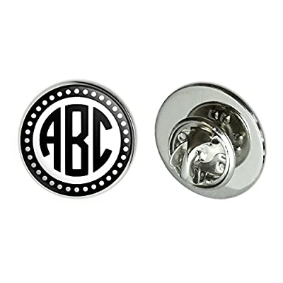 "Cheap Graphics and More Personalized Custom 3/4"" Metal Tie Tack Hat Lapel Pin Pinback - Monogram Circle Font Scalloped Outline hot sale"