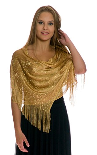(Shawls and Wraps for Evening Dresses, Wedding Shawl Wrap Fringes Scarf for Women Gold)