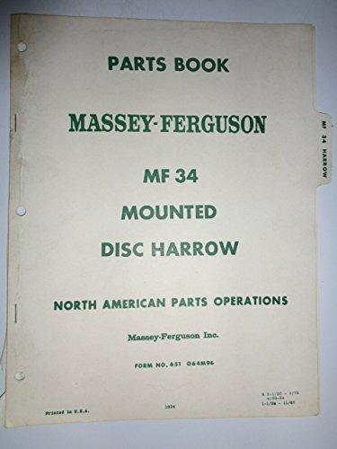 Massey Ferguson Mf 34 Mounted Disc Harrow Parts Catalog Book Manual