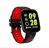 LJXAN Fitness Tracker HR, Activity Tracker Watch Smart Bracelet Color Screen Sports Watch Waterproof Heart Rate Blood Pressure Bracelet Sleep Monitoring,Redrubberstrap