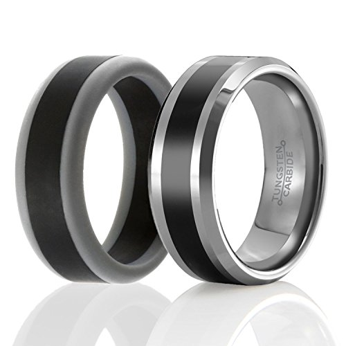 SOLEED Twins - Set of 2 - 1 Tungsten Wedding Band and 1 Silicone Rubber Wedding Ring For Men, Size 14