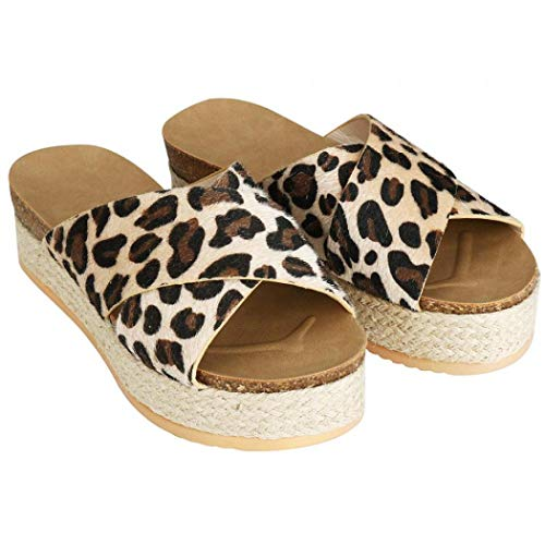 - Milky Way Womens Trendy Platform Espadrilles Criss Cross Slide-on Open Toe Faux Leather Studded Sandals (Leopard,7.5 M US)