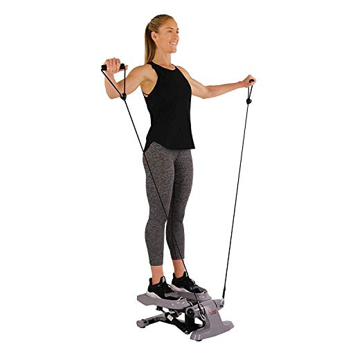 (Sunny Health & Fitness Versa Stepper Step Machine w/Wide Non-Slip Pedals, Resistance Bands and LCD Monitor - SF-S0870)