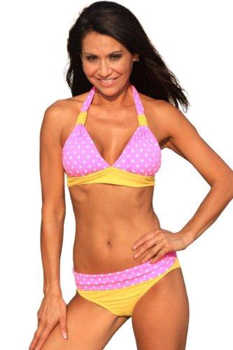 Hot Dot Banded Bikini Pink and White Polka dot Halter Swimsuit - Top, Bottom or Set (Polka Banded Halter Dot)