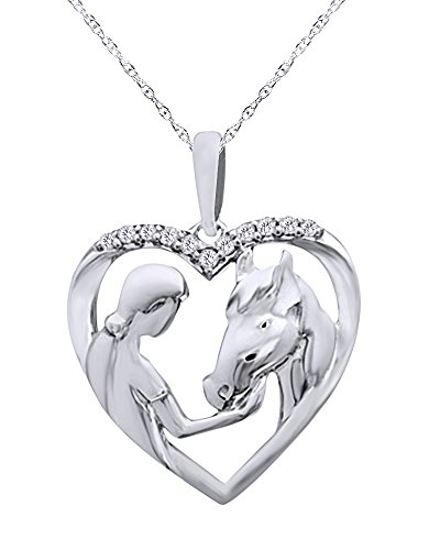 (Diamond Accent Girl with Horse Pendant Necklace in 14K White Gold Over Sterling Silver )