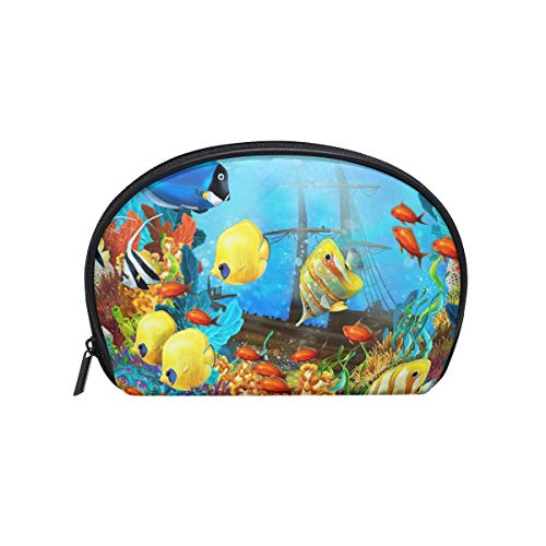 Half Moon Reef - Anna Cowper Underwater Fishes Tropical Ocean Sea Reef Print Half Moon Cosmetic Makeup Toiletry Bag Travel Handy Organizer Pouch for Women Girls